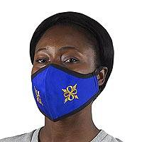 Cotton face mask, 'Pempamsie in Royal and Gold' - Contoured Reusable and Washable Blue Face Mask