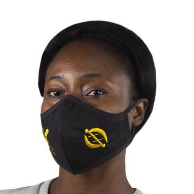Cotton face mask, 'Gye Nyame Akofena' - Gye Nyame Akofena Double Layer Cotton Face Mask