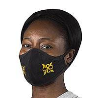 Cotton face mask, 'Pempamsie in Yellow' - Black Adrinka Pempamsie Face Mask with Elastic Ear Loops