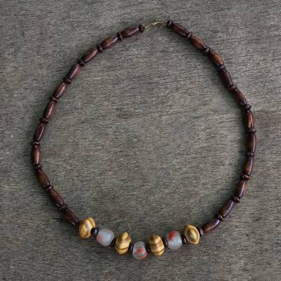 Wood beaded necklace, 'Woodlands' - Unisex Sese Wood and Recycled Glass Bead Necklace