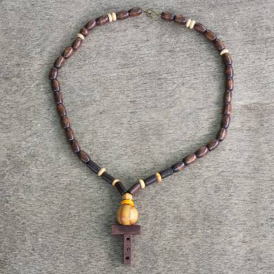 Wood beaded pendant necklace, 'Strong One' - Unisex Sese Wood Beaded Pendant Necklace