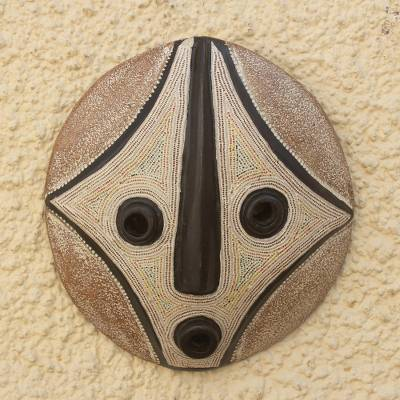 African wood mask, 'Bat' - Hand Made African Sese Wood Round Mask
