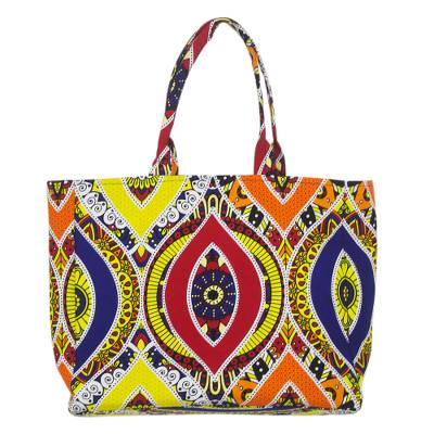 Ghanaian Primary Colored Cotton Tote Bag