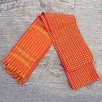 Cotton scarf, 'Golden Pebbles on Scarlet' - Authentic African Kente Cloth Red & Yellow Kpekui Scarf