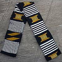 Cotton scarf, 'Seat of the King' (1 strip) - African Kente Cloth Cotton Fiazikpui Scarf (1 Strip)