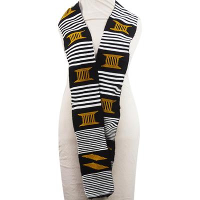 Cotton scarf, 'Seat of the King' (1 strip) - African Kente Cloth Cotton Fiazikpui Scarf (1 Strip)