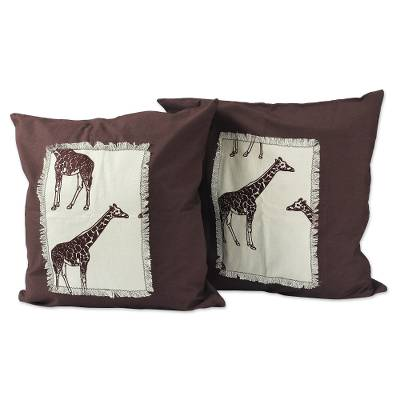 Hand Made Cotton Giraffe Cushion Covers (Pair)