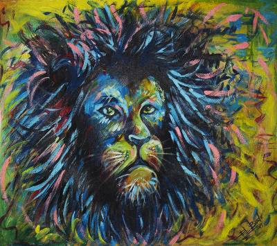 Multicolored Lion Painting from Ghana