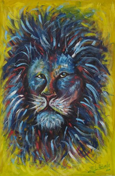 Lion Motif Acrylic on Canvas Painting