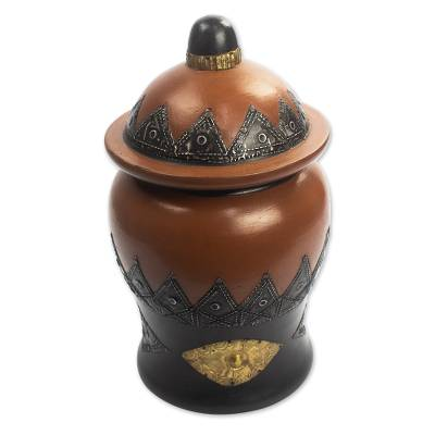 Decorative Wood Lidded Pot with Textured Metal Plate Detail