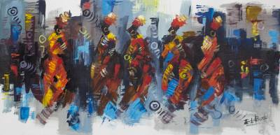 Acrylic on Canvas Painting of African Dancers