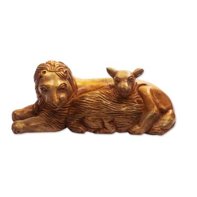 Hand Carved Mahogany Wood Lion and Lamb Sculpture