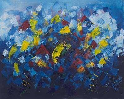 'Flowers of Love' - Primary Colors Abstract Acrylic Painting