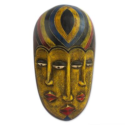 African wood mask, 'Boboto Faces' - Hand Painted African Sese Wood Mask