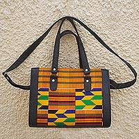 Cotton shoulder bag, 'Color Fusion' - Hand Made Cotton and Leather Kente Cloth Handbag from Africa