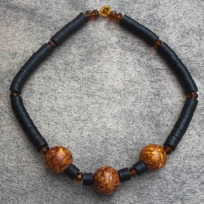 Wood beaded necklace, 'Akutu' - Hand Made Sese Wood and Recycled Glass Beaded Necklace