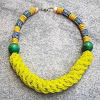 Recycled glass beaded necklace, 'Yehowada' - Recycled Glass and Sese Wood Beaded Necklace