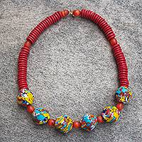 Recycled glass bead necklace, 'Animuonyam' - Multicolored Recycled Glass Bead Necklace