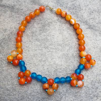 Agate and recycled glass bead necklace, 'Joyful' - Orange and Blue Agate and Recycled Glass Bead Necklace
