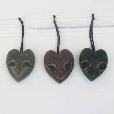 Wood ornaments, 'Heart Mask' (set of 3) - Handmade Ofram Wood Holiday Ornaments (Set of 3)