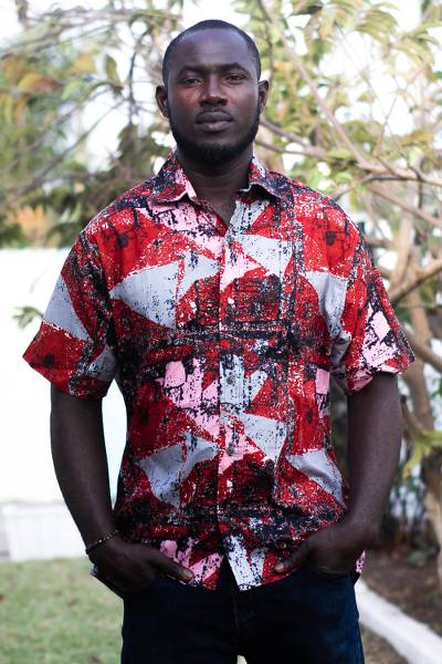 Men's cotton shirt, 'Orange Splash' - Men's Printed Cotton Short Sleeve Shirt from Ghana