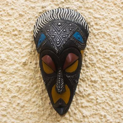 African wood mask, 'Daakye Hene' - African Sese Wood and Aluminum Mask
