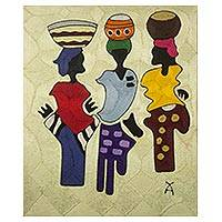 Silk thread wall art, 'A Busy Day' - Hand Crafted Silk Thread Wall Art from Africa