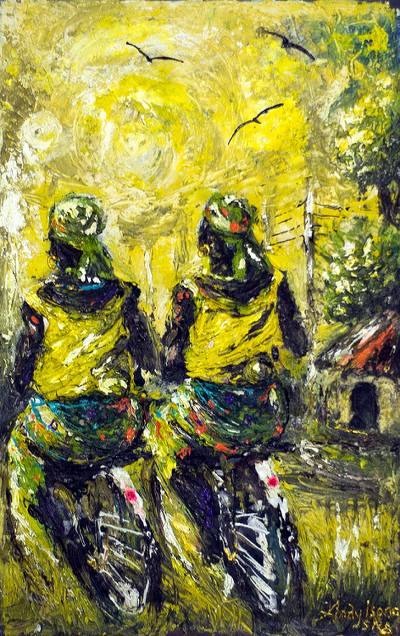 Acrylic Figure Painting on Canvas from Africa