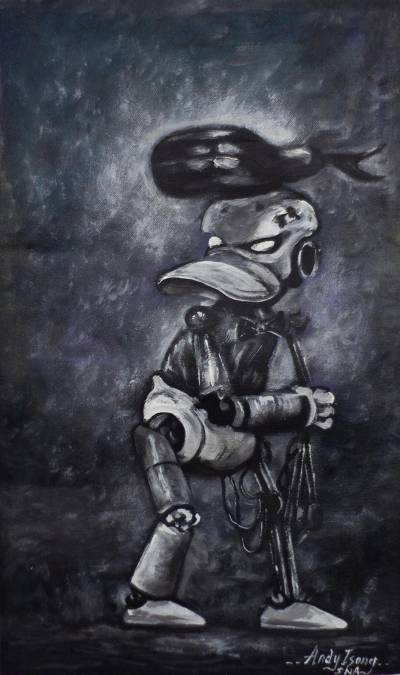 Acrylic Robot Figure Painting on Canvas from Africa
