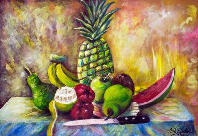 Acrylic Still Life Fruit Painting on Canvas from Africa