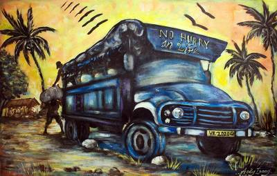 Acrylic Truck Painting on Canvas from Africa
