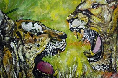 Signed Lion and Tiger Painting from West Africa