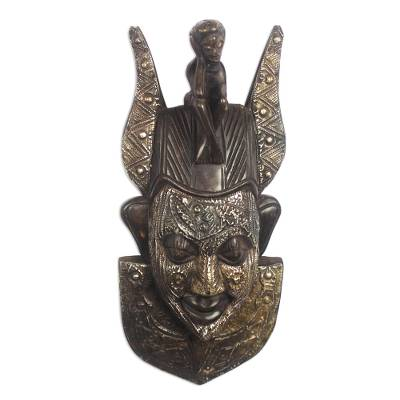 African wood mask, 'Wise Man' - African Sese Wood and Aluminum Plate Mask