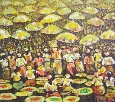 Acrylic on Canvas Market Scene from West Africa
