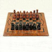 Wood and leather chess set, 'Spider' - Wood and leather chess set