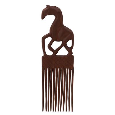 Mahogany Wood Horse-Motif Wall Art