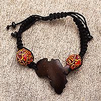 Coconut shell pendant bracelet, 'African Midnight' - Artisan Crafted Coconut Shell Pendant Bracelet from Ghana