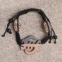 Ebony wood pendant bracelet, 'Gye Nyame' - Hand Made Ebony Wood Adinkra Symbol Pendant Bracelet