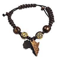 Ebony wood charm bracelet, 'African Day' - Ebony Wood and Recycled Glass Bead Bracelet