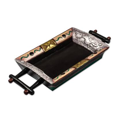 Sese Wood and Brass Plated Serving Tray