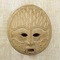 Wood mask, 'Zomukyi' - Artisan Crafted Wood Mask