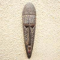 Ivoirian wood mask, 'Mystery and Spirit' - Hand Made Ivory Coast Wood Mask