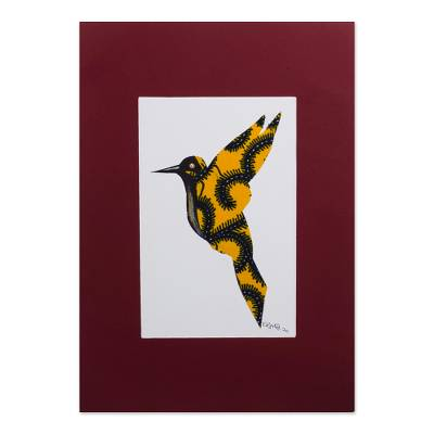 'I Believe I Can Fly I' - Acrylic Hummingbird Painting on Cardstock