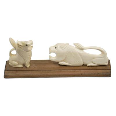 Handcrafted Wild Cat Bone and Wood Statuette