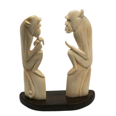 Bone and Ebony Wood Monkey Statuette