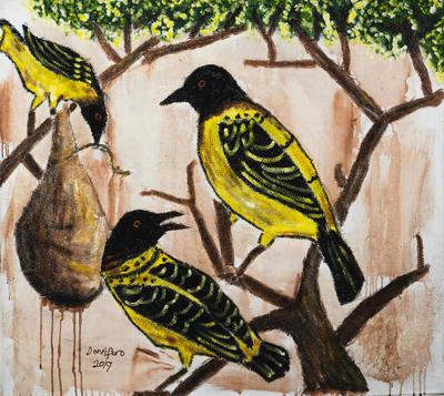 Acrylic and Jute Bird Painting on Canvas