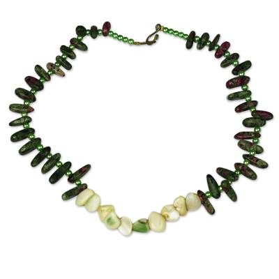Agate and Recycled Plastic Beaded Necklace