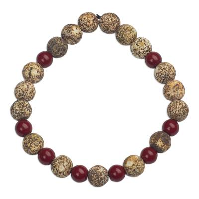 Hand Made Agate and Glass Beaded Stretch Bracelet