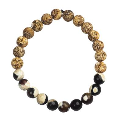 Agate and Glass Beaded Bracelet