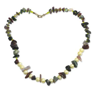 Hand Made Agate and Brass Beaded Necklace